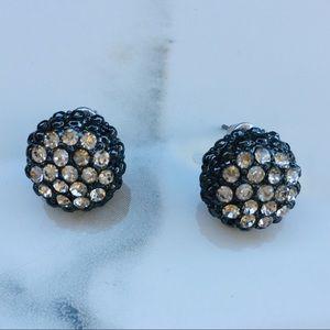 Pewter rhinestone silver tone stud earrings